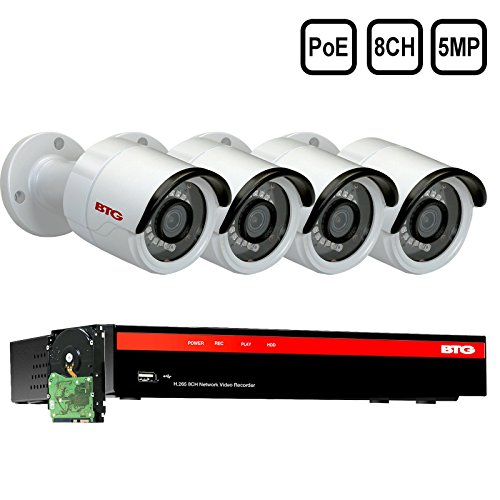BTG 8CH 5MP 4 Cameras Poe Security Camera System 4K NVR Built-in PoE with Outdoor 5MP Surveillance IP PoE 4 3.6mm Bullet Cameras HD 2592 x 1944 IR CCTV System H265 1TB HDD