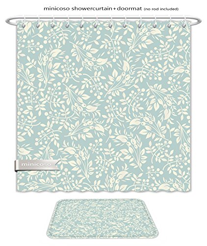 Minicoso Bath Two Piece Suit: Shower Curtains and Bath Rugs Floral Seamless Pattern Seamless Pattern Can Be Used For Wallpaper Pattern Fills Web Page Shower Curtain and Doormat - Blush Versace