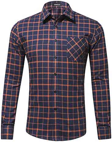 ac1ee4b33 Zeetoo Men's Casual Flannel Plaid Shirt Long Sleeve Button Down Shirts