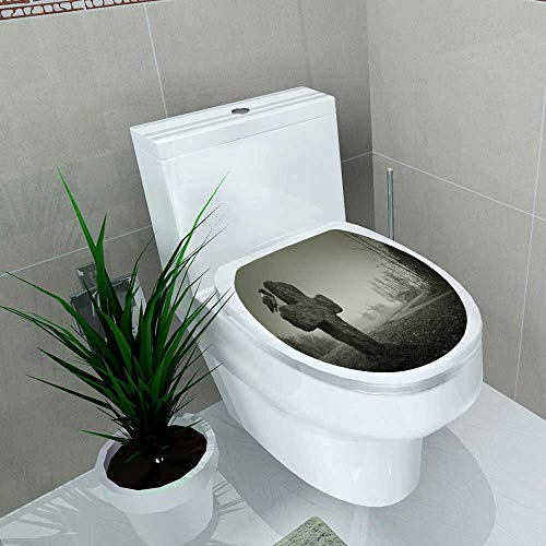 Waterproof & Removable Stickers Scary Background Halloween Grave a Cross The Raven Bathroom Toilet Cover Sticker W14 x -