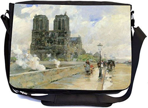 Rikki Knight Childe Hassam Art Notre Dame Cathedral 1888 Design Premium Messenger Bag - School Bag - Laptop Bag - with Padded Insert for School or Work - with Matching Pencil Case by Rikki Knight