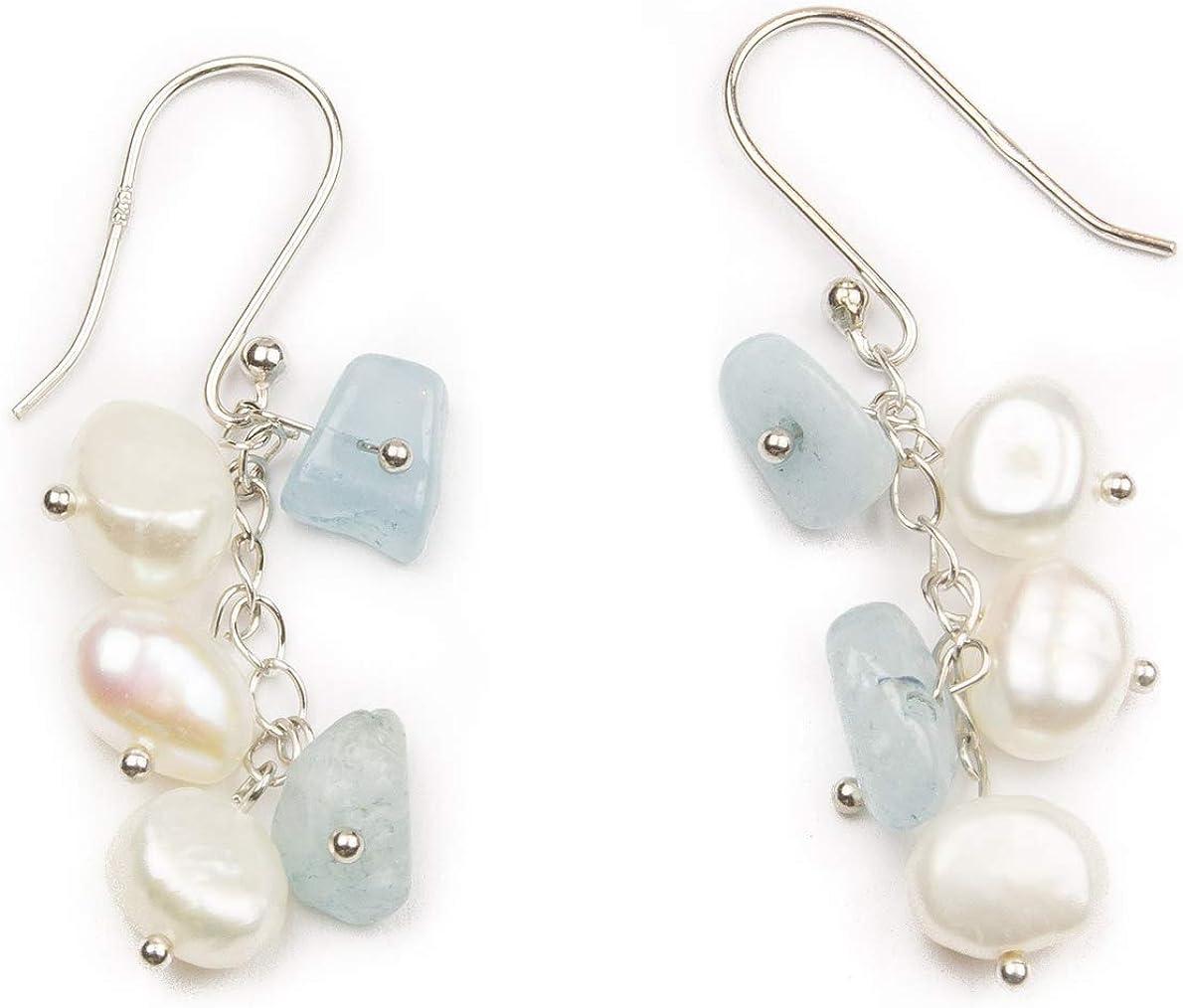 Pearl Natural AAA Fine Quality Gemstone 925 Sterling Silver Dangle  Fresh Water Pearl Dangle Earrings