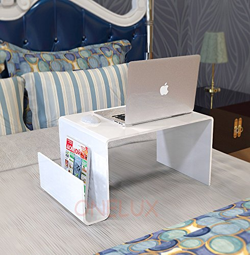 Magazine Craftworks - Waterall Clear Lucite Bed Tray Table,Acrylic Laptop Stand with Additional Magazine Rack - for Bed Use Purpose (White)