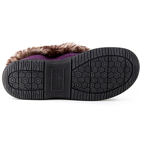 Bootie Slipper Faux Rabbit Purple Zigzagger Chevron Fur Collar Women's Print with qCwIITxRZ