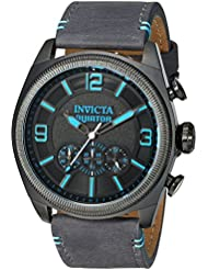Invicta Mens Aviator Quartz Stainless Steel and Leather Casual Watch, Color:Grey (Model: 22987)