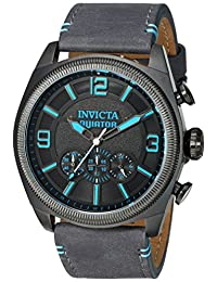 Invicta Men's 'Aviator' Quartz Stainless Steel and Leather Casual Watch, Color:Grey (Model: 22987)