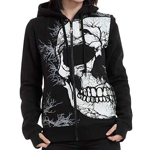 - URIBAKE Women's Black Hoodie Skull Print Long Sleeve Zip Up Thumb Hole Hooded Pullover Sweatshirt T Shirt