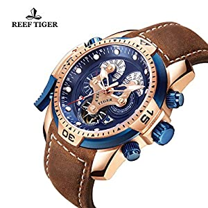 Reef Tiger Complicated Sport Men Watches Rose Gold Blue Dial Watch with Brown Leather Strap Military Wrist Watches RGA3503