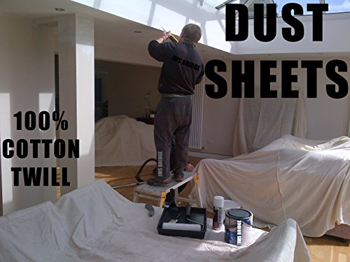 5 x quality 100 cotton twill heavy duty dust sheets for decorating each sheet of size 12ft x 9ft bale of 5 sheets amazoncouk diy
