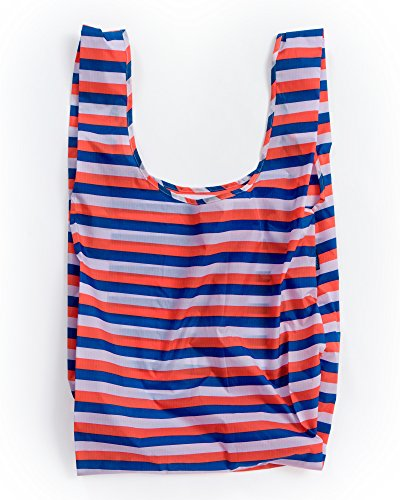 BAGGU Large Reusable Shopping Bag, Foldable Ripstop Nylon Tote for Laundry or Shopping, Red 90s Stripe