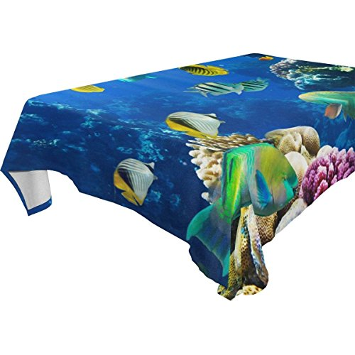 Rectangular Tropical Fish Coral Reef Tablecloth Table Cloth Cover for Home Decor Dinner Kitchen Party Picnic Wedding Halloween Christmas 54 x 54 inches]()