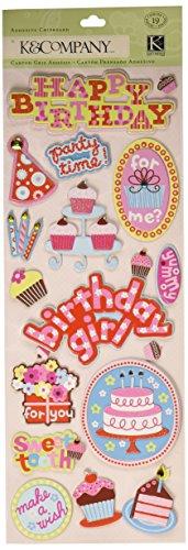 Chipboard Adhesive - K&Company Sweetie Birthday Adhesive Chipboard