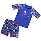 ViewHuge 2 Piece Set Boys Swimsuit with Cap,Short Sleeve Wetsuit Rashguard Swim Trunk Short Set for Kids Girls