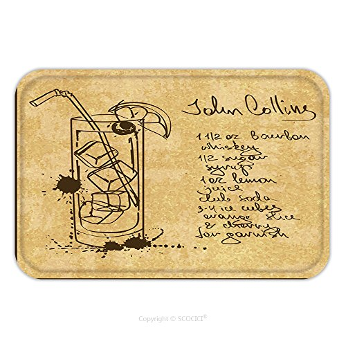 Flannel Microfiber Non-slip Rubber Backing Soft Absorbent Doormat Mat Rug Carpet Illustration With Hand Drawn Sketch John Collins Cocktail Including Recipe And Ingredients On The 230236753 for Indoor/