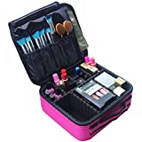 Travel Makeup Bag Train Case Makeup Cosmetic Case Organizer Portable Artist Storage Bag for Cosmetics, Brushes, Toiletries, Travel Accessories, Jewelry and Digital accessories 10.3'' Hot Pink