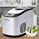 COSTWAY Automatic Ice Cream Maker, Electric Programmable LED Display Screen Countertop Easy Clean Interior Ice Cream Machine, Make Soft & Hard Ice Cream Auto Shut-Off Timer, for Kids, Families & Friends, 1.6 Quart (Silver)