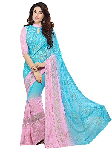 - Online Fayda Women's Chiffon and Nazneen Embroidered Saree with Blouse Piece - KMS207-9005_Blue and Pink_Free Size