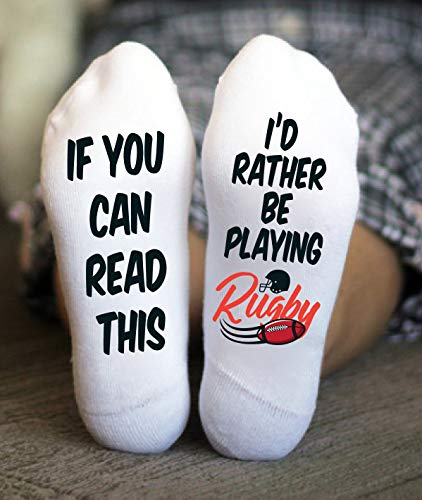 I'd Rather Be Playing Rugby Socks For Men Funny Birthday Gift