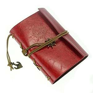 Oyedens Estilo Vintage Cubierta De Cuero Cuaderno Diario Diario De Cadena En Blanco Náutico (Rojo)