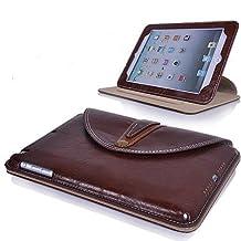 N9-Online Étui portefeuille classique en cuir PU pour iPad Mini avec film de protection pour écran Effet professionnel et rétro Motif Oxbow Camel noir/rouge