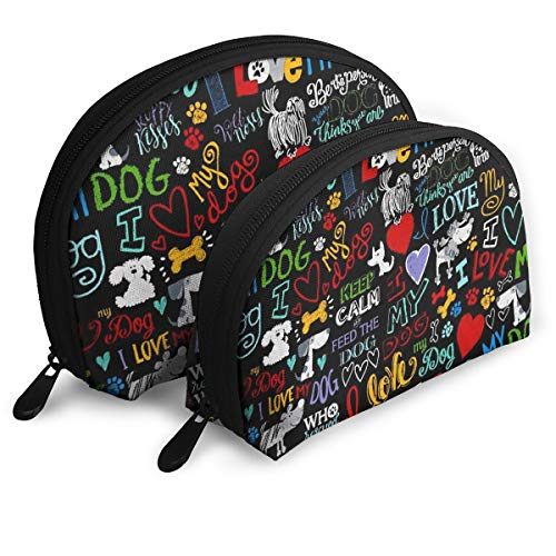 DHSJWIEU23 Keep Calm and Feed Dog Portable Bags Clutch Pouch Storage Bag Coin Purse Travel Bag Handbag Women's Bag One Big One Small Cosmetic Bag