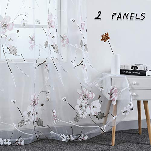 Pink Burnout Transparent Sheer Curtains Peach Blossom Design Rod Pocket Drapes Window Voile Panels for Girls Bedroom Living Room Set of 2 Panels 52 by 96 Inches Long