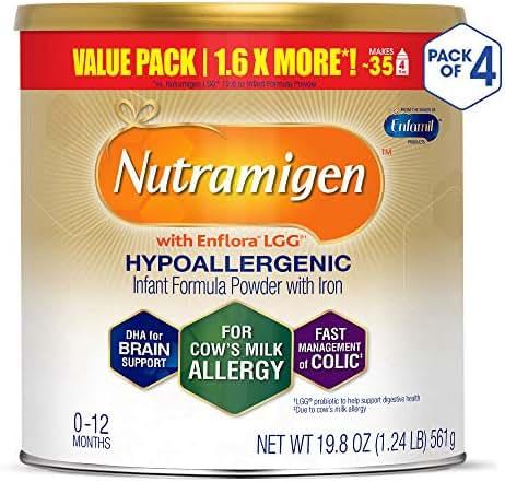Enfamil Nutramigen Colic Baby Formula Lactose Free Milk Powder, 19.8 Ounce (Pack of 4), Probiotics, Iron