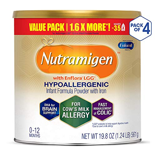 Enfamil Nutramigen Hypoallergenic Colic Baby Formula Lactose Free Milk Powder, 19.8 ounce (Pack of 4) - Omega 3 DHA, LGG Probiotics, Iron, Immune Support (Best Baby Formula For Reflux And Gas)