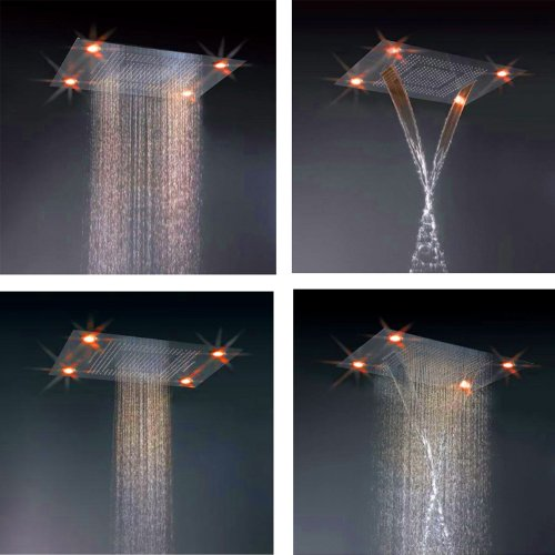 Possbay 600mmx800mm Rectangle In-wall-mounted Stainless Steel Polish Finish Bath Overhead 4 Function Shower Head with Remote Controller Multi-color LED Light by Possbay (Image #1)