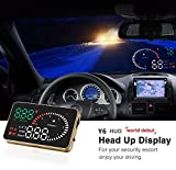 "YICOTA Head Up Display 3.5"" Car HUD Vehicle Speed KM/h MPH Overspeed Warning Windshield Compatible with OBD II EOBD System Model Cars (X6)"