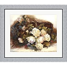 White Roses in Basket by Andrea Dern Framed Art Print Wall Picture, Flat Silver Frame, 28 x 24 inches