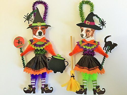 Jack Russell Terrier HALLOWEEN WITCH ORNAMENTS Vintage Style Dog Chenille Ornaments Set of -