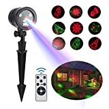 LIGHTESS Christmas Laser Lights Projector Indoor Outdoor Laser Light with Remote Control 5 Patterns Red and Green Slide Star Show for Xmas Holiday Party Garden Decoration, YG-KL