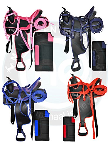 Manaal Enterprises Youth Child Synthetic Western Pony Horse Saddle Tack Matching Headstall + Breast Collar + Reins & Saddle Pad Size 10