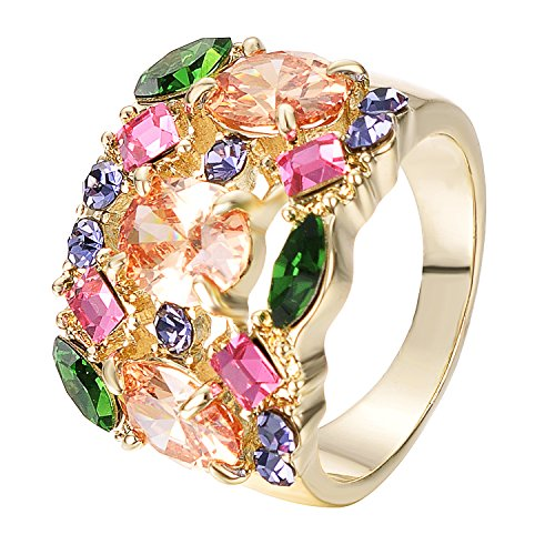 Yoursfs Cocktail Ring Vintage Style Wide Band Statement Ring for Women (Colorful, 8)