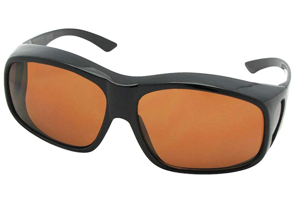 0f1efc8ab0 Amazon.com  Largest Non Polarized Fit over Sunglasses Style F19 Sunglass  Rage (Black Frame-Non Polarized Amber Lenses)  Clothing