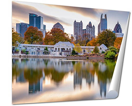 Ashley Giclee Atlanta Georgia Usa Autumn Skyline From Piedmont Park Fine Art Decoration For Kitchen  Living Room  Home Office  Den Or Bedroom  Ready To Frame  24X30 Print