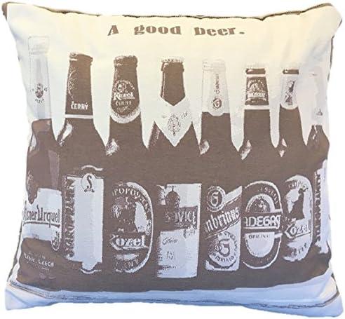 Beige et Marron algod/ón-poli/éster Textiles Le CID bier Housse de Coussin 45/x 45/x 1/cm