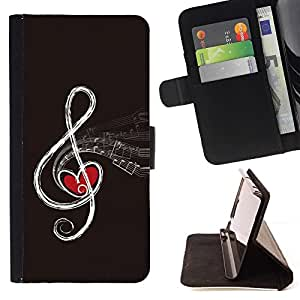 - Love Note Music Heart Drawing Art Infinity Red/ Personalized Design Custom Style PU Leather Case Wallet Flip Stand - Cao - For HUAWEI P8 Lite