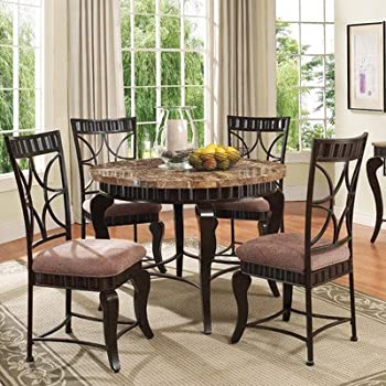 ACME 18285 Galiana Round Dining Table W/ Brown Marble Top In Espresso