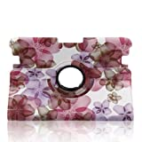 Generic Modern Peach Blossom Slim PU leather 360 Degree Rotating Auto Sleep/Wake Function 8.9 inch 2012 kindle fire HD Smart Carrying Case with Multi-angle Vertical and Horizontal Stand(with a Stylus as a Gift) --Pink