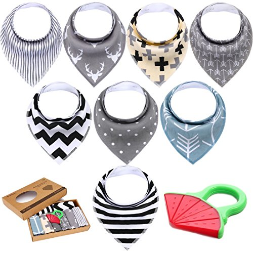 Baby Bandana Drooling Bibs Set - Super Absorbent, Soft, Chic Organic Drool Bibs,Baby Bibs with Free Baby Teether For Baby Boys & Girls By Beakhyun (8 Pack)