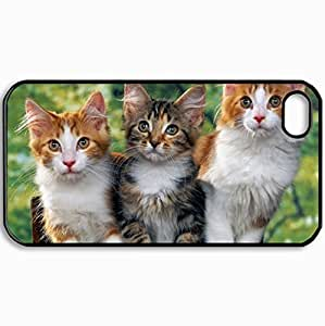 Customized Cellphone Case Back Cover For iPhone 4 4S, Protective Hardshell Case Personalized Awesome Cute Cats Black