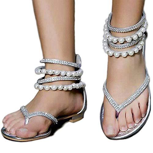 6db9d71dbe9040 Women s Sparkle Bohemian Flip Flops Summer Beach Thong T-Strap Flat Sandals  Sliver Size 9