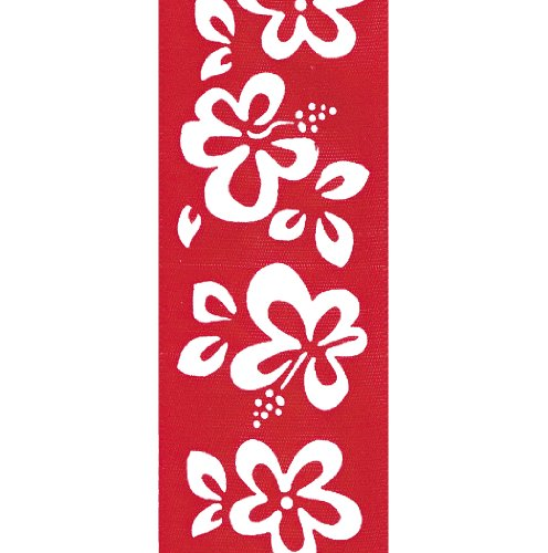 Hibiscus Ribbon (Offray Hibiscus Floral Craft Ribbon, 7/8-Inch Wide by 10-Yard Spool, Red)
