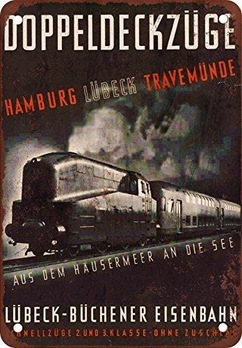 Double-Deck Steam Train to Hamburg Vintage Custom Metal Tin Sign 30 cm x 20 cm ()