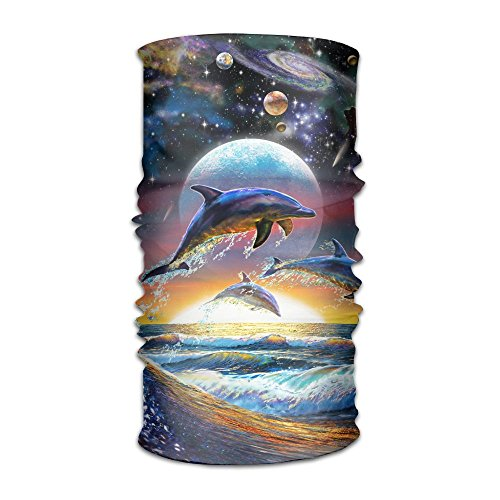 (BANANA FLAME Starry Moon Jumping Dolphin.png Versatile Sports & Casual Headwear,Bandana, Balaclava, Moisture Wicking Microfiber UV Protection For Running, Yoga, Hiking, Travel Unisex)