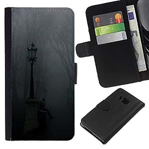 KLONGSHOP // Tirón de la caja Cartera de cuero con ranuras para tarjetas - Lámpara Niebla Parque Cementerio de Otoño - HTC One M7 //
