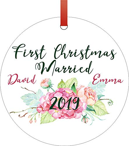 Jacks Outlet Ornament Just Married First Christmas Married 2019 Ornaments You Can Personalize Round Shaped Flat Aluminum Semigloss Christmas Ornament Tree Decoration - Customize Yours - Ornaments Can Aluminum
