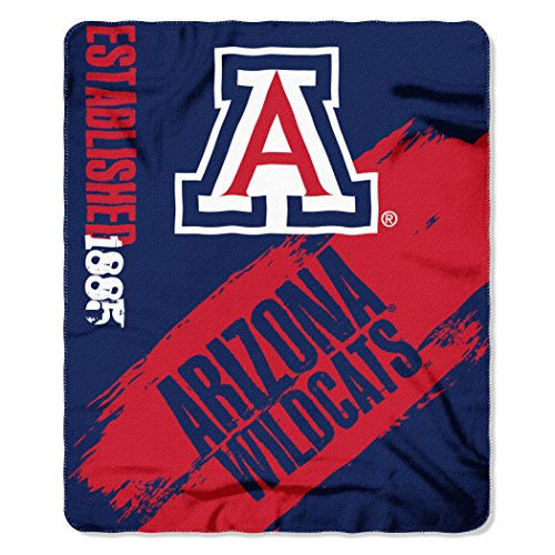 Officially Licensed NCAA Arizona Wildcats Painted Printed Fleece Throw Blanket, 50